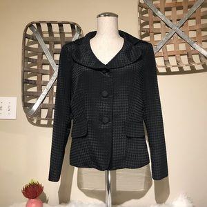 Kasper Petite Black Textured 3 Button Blazer